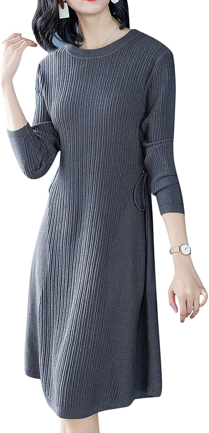 Uaneo Women's Autumn Round Neck Long Sleeve Knee Length Knit Dresses Pullover