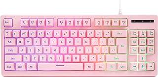 CQ87 Gaming Keyboard USB Wired Floating Keyboard, Quiet Ergo