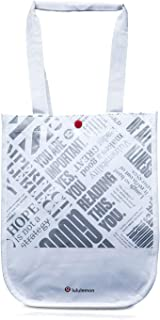 Lululemon 20th Anniversary Reusable Lunch Tote & Carryall Gym Bag - Collapsible, Waterproof, Eco-Friendly, Small, White an...