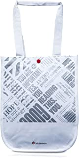Lululemon 20th Anniversary Reusable Lunch Tote & Carryall Gym Bag - Collapsible, Waterproof, Eco-Friendly, Small, White and Silver