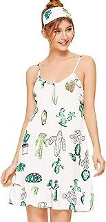 Milumia - Camisones de algodón para mujer, con estampado informal, con correa de espagueti, cuello redondo, suave, para do...