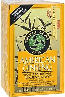 Triple Leaf American Ginseng Root Tea - 20 bags per pack - 6 packs per case.