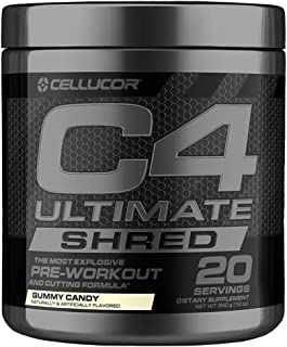 Cellucor C4 Ultimate Shred Pre Workout Powder, Fat Burner for Men & Women, Weight Loss Supplement with Ginger Root Extract, Gummy Candy, 20 Servings