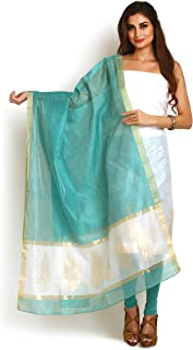 White & Sea-Green Chanderi Zari Work Suit