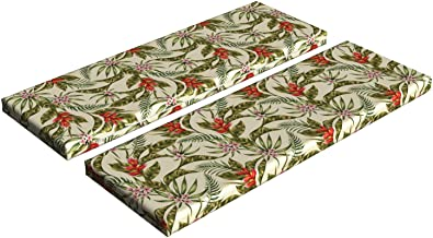 Ambesonne Leaf Bench Cushion Set of 2, Romantic Aloha Pattern with a Vintage Look Birds of Paradise and Plumeria Blossoms, Standard Size Foam Pad and Decorative Cover, 45