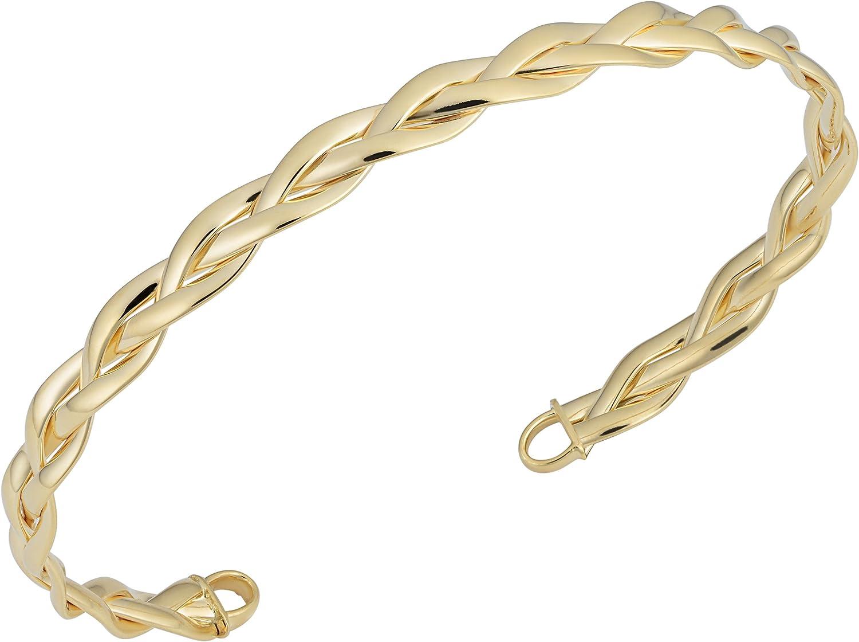 Kooljewelry 14k Gold Braided Cuff Bangle Bracelet