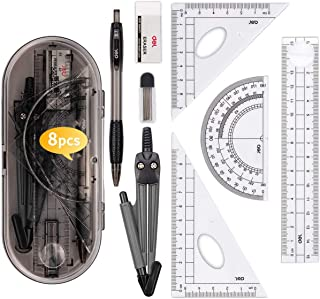 DELFINO Set Math Geometry Tool Plastic Clear Ruler Sets Protractor Triangular Ruler Drawing Compass for School Student Cla...
