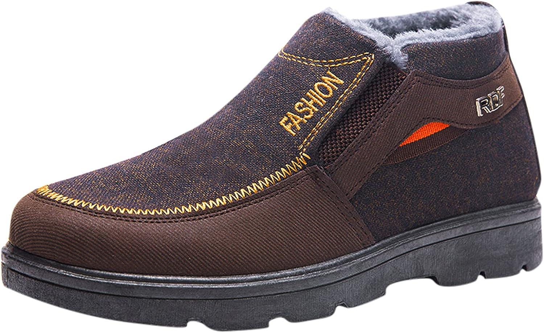 Binggong Zapatos de invierno para hombre, botines de trabajo, botines con forro cálido, botas de invierno, planas, botas cortas, de algodón, botas de nieve, botas de senderismo, botas de tobillo