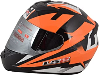 LS2 Polycarbonate Dyno Full Face Helmets (Orange, Large)