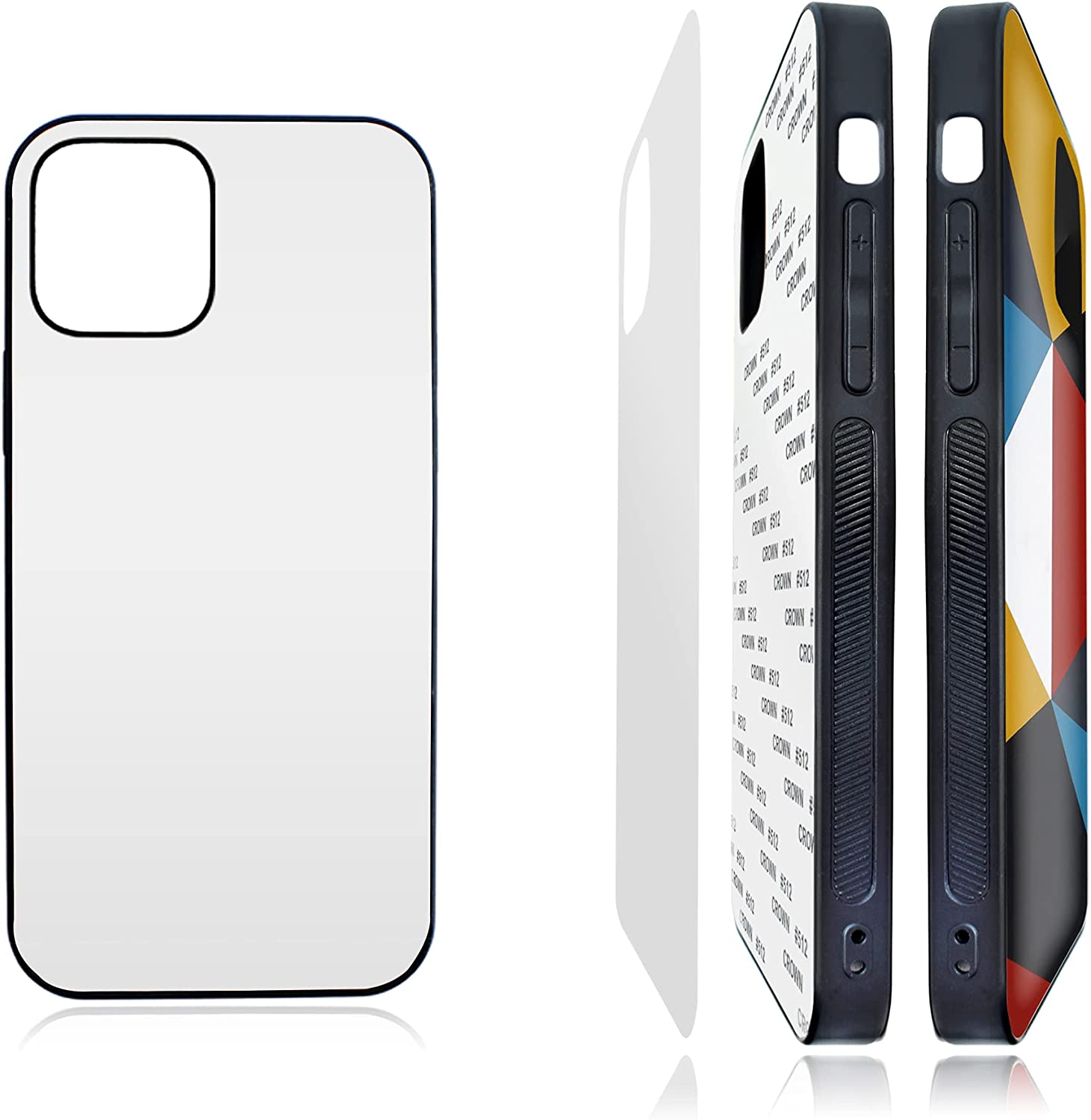 WITT CASE 5 PCS Sublimation Phone Case Blanks for iPhone 12/12 Pro, Printable, 2D, 6.1 Inch (2020), Supports Wireless Charging, Matte, DIY Personalized Heat Press iPhone Cell Cover