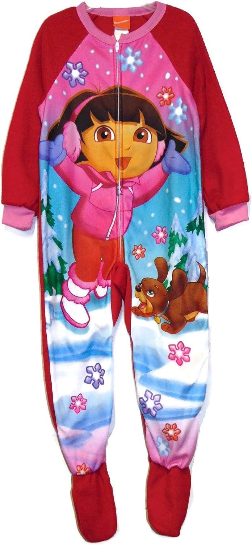 American Marketing Dora and Perito Winter Snowfall Fleece Pajama Sleeper, Size XS 4/5 Red