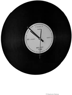 American Chateau Record Lp 33 Vintage-Style Glass Paris Melody Time Wall Clock