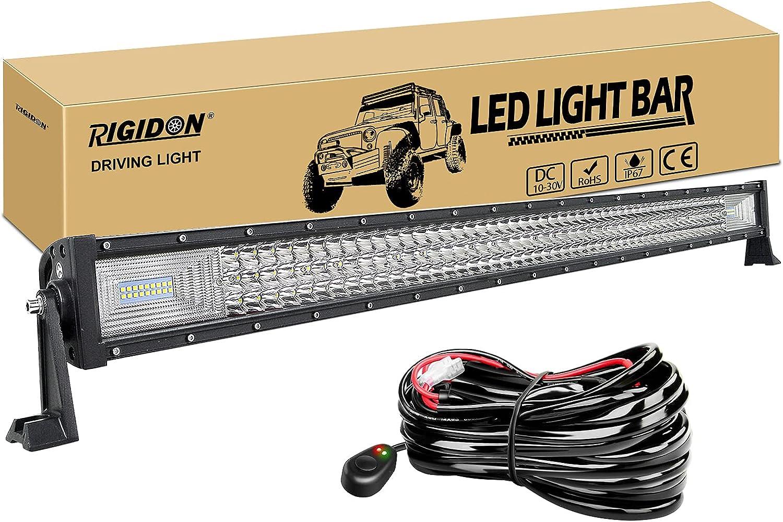 RIGIDON Barra de luz led, 12V 24V 42 pulgadas 540W, 7D Tri fila Barras luminosas led y kit de cableado para off road camión coche ATV SUV 4x4 barco, Foco Inundación Combo, lámpara de conducción 6000K