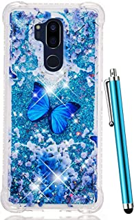 CAIYUNL for LG G7 ThinQ Glitter Case,LG G7 Case Bling Sparkle Flowing Liquid Floating Quicksand Colorful Cute Protective Soft Clear Cover Slim Thin TPU Women Men Luxury for LG G7 ThinQ-Blue Butterfly