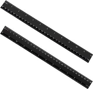 eBoot Plastic Ruler Straight Ruler Plastic Measuring Tool 12 Inches, 2 Pieces (Black)
