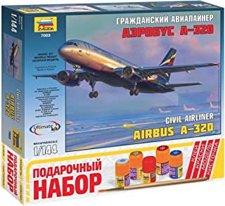 ZVEZDA 7003 P Civil Jet Airliner Airbus A-320 Gift Set (Paints Included) Plastic Model Kit Scale 1/144 140 Details Lenght 10