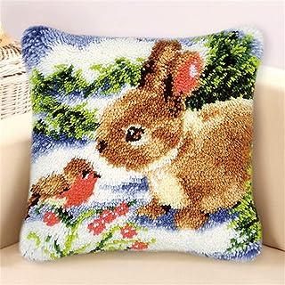 Lanrui Crochet de Latch Kit Bricolage Broderie Oreiller Couvre-Oreiller Belle Lapin Motif de Lapin Crochet Set Kit d'artis...