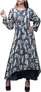 aaaina Cotton Fabric, Navy Blue, Round Neck, Full Sleeve Long Kurti, Latest 2018 Stylish Design Party Wear Fancy Dress for...