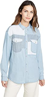 Rollas Women's Patch Denim Shirt Long Sleeve Blue