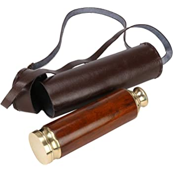 Kartique Adjustable Brass Antique Long Range Lens Telescope with Round Leather Box Nautical Vintage Decor for Bird Watching Gold Finish 15 Inch