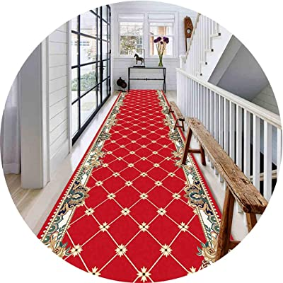 Hallway Runner Rug Long Runner Rugs Corridor Carpet European Striped Style Doorway Bedroom Home Aisle Stairs Hotel Bedside Strip Non-Slip Mat (Color : A, Size : 23.6x157.5in)