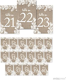 Andaz Press Burlap Lace Wedding Collection, Table Numbers 21-40 on Perforated Paper, Single-Sided, 4 x 6-inch, 1 Set