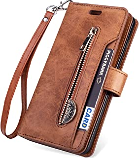 Galaxy Note 10 Plus Wallet Case,Note 10+ 5G Case(2019 Release),Kudex Trifold 9 Card Slot Holder Flip Leather Folding Stand Magnetic Closure Wallet Purse Case w/Wrist Strap&Zipper Money Pocket (Brown)