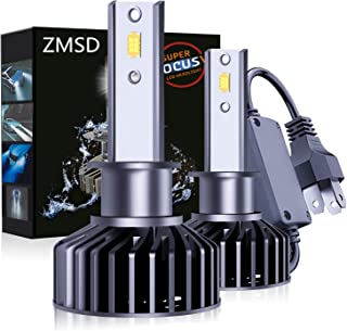 ZMSD H1 LED Headlight Bulb,60W 6500K 12000Lumens Extremely Bright CSP Chip With Anti Flickering Decoder Conversion Kit, Cool white, 2 year warranty (H1)