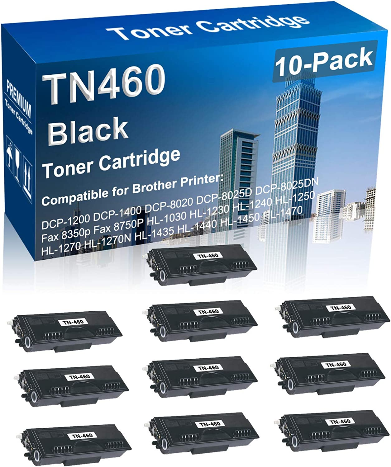 outlet 10-Pack Compatible High Today's only Yield TN460 Printer Laser Toner TN-460 C