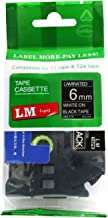 LM Tapes - Brother PT-1000 Label Printer 6mm White on Black Compatible TZe P-touch Tape (1/4