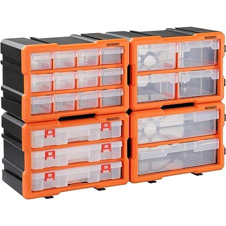 Organisateur pour outils plastique transparent 29,5x19,5 x16cm boîtes rangement 72 compartiments tiroirs caisse vis incluses atelier garage