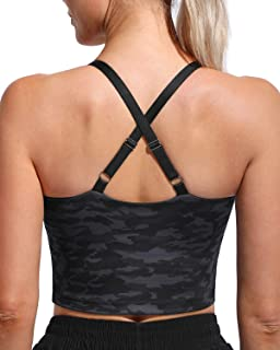 WALK FIELD Women Adjustable Sports Bras Wirefree Padded Longline Cami Bras for Workout Yoga Fitness
