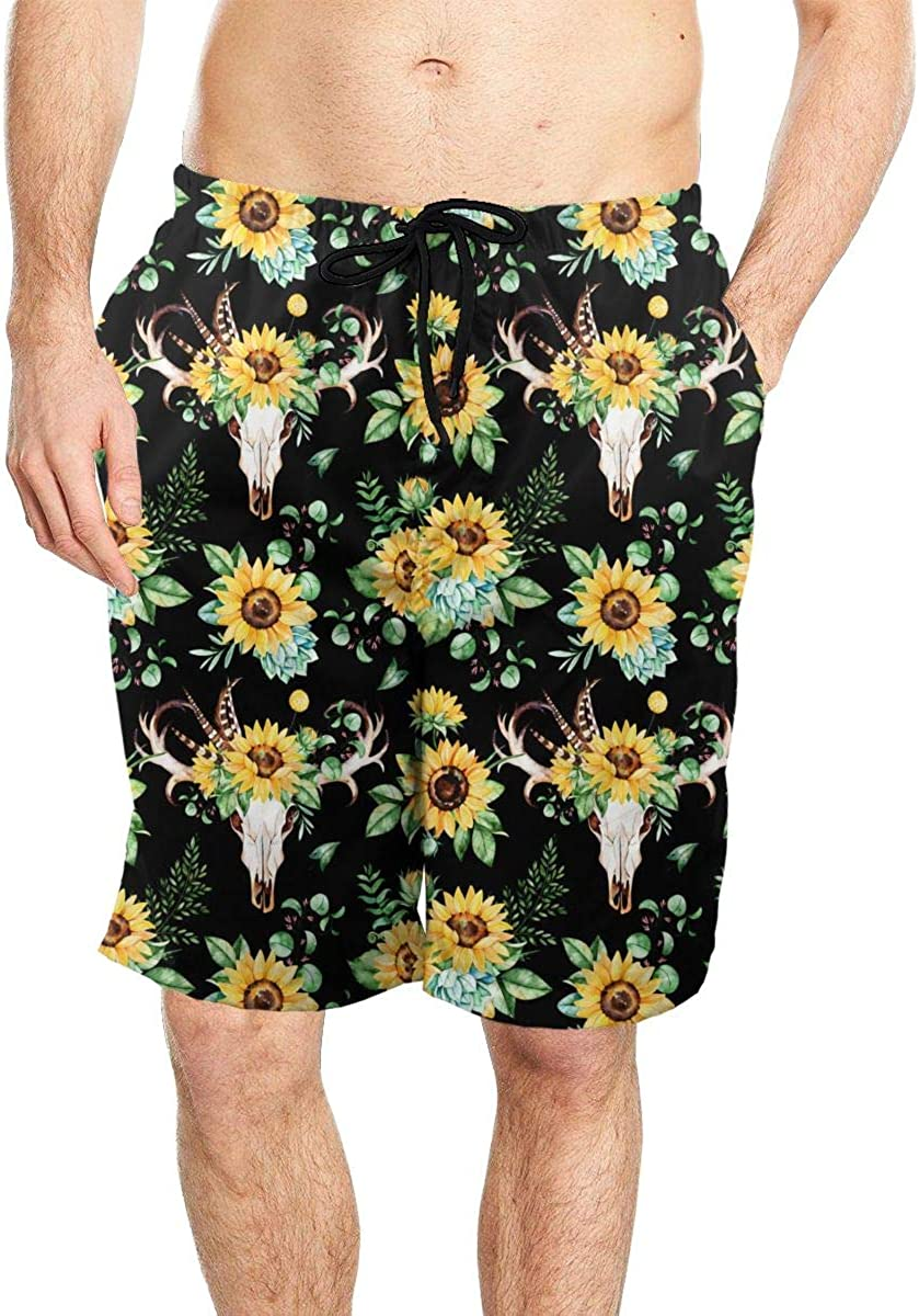 DASMUS Sunflowers and Skull Horns Men Quick Dry Beach Board Shorts Swim Trunks with Mesh Lining