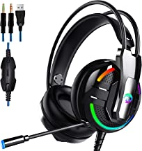 High-end Gaming Headset,Excellent Gaming Headphones for PS4 Xbox One PC Gaming Headphones, Stereo Bass Surround Sound, LED Lights and soundproof Microphones(Contains Headphone 2 in 1 Adapter)