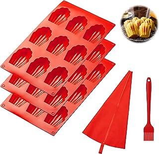 Progarments - Set di 3 stampi per madeleine in silicone a 9 fori, stampo per torte con 1 tasca per beccuccio, 1 pennello d...