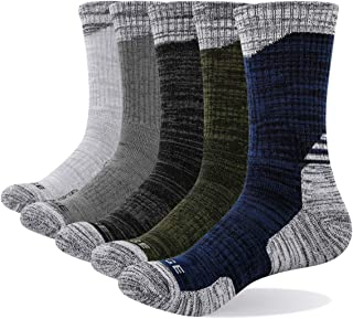 YUEDGE Men's Cushion Breathable Cotton Crew Socks Outdoor Sports Athletic Hiking Socks(5 Pairs/Pack)