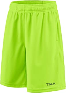 TSLA 1 or 2 Pack Boy's Athletic Shorts, Quick Dry Pull On Basketball Running Shorts, Active Sports Workout Gym Shorts