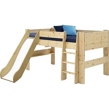 Steens Furniture for Kids Lit Mezzanine mi-Hauteur avec Toboggan, Bois, Jaune, 254 x 206 x 113 cm