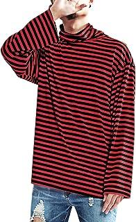 Men's Striped Hipster Hip Hop Basic Turtleneck Long Sleeve T-Shirt Top