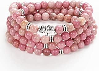 108 Mala Stone Beads Wrap Wrist Bracelet with Elephant Charm Handmade Jewelry Gift (Rhodonite)