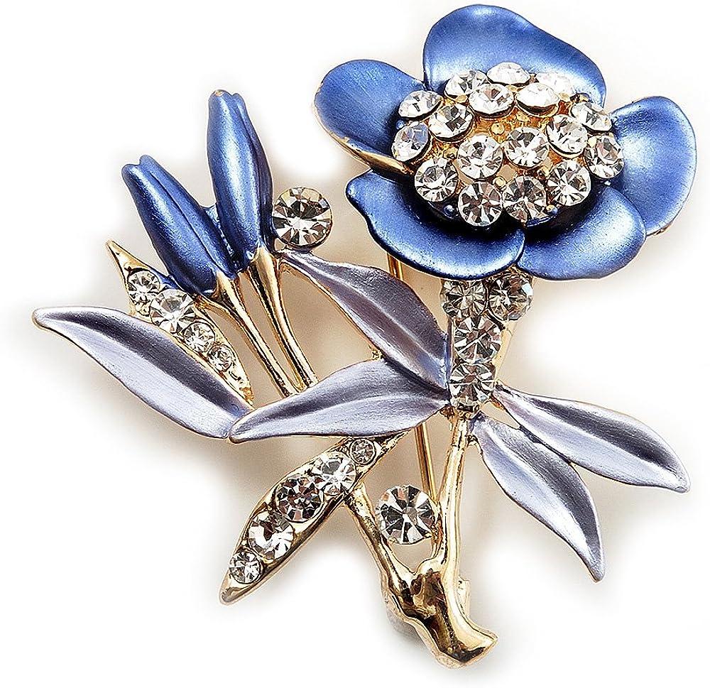 Avalaya Violet Enamel Crystal Bunch of Flowers Brooch (Gold Tone)
