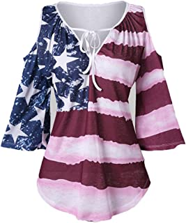 ZOMUSAR Women Casual American Flag Printed Cold Shoulder Top Half Sleeve V-Neck Shirt Blouse