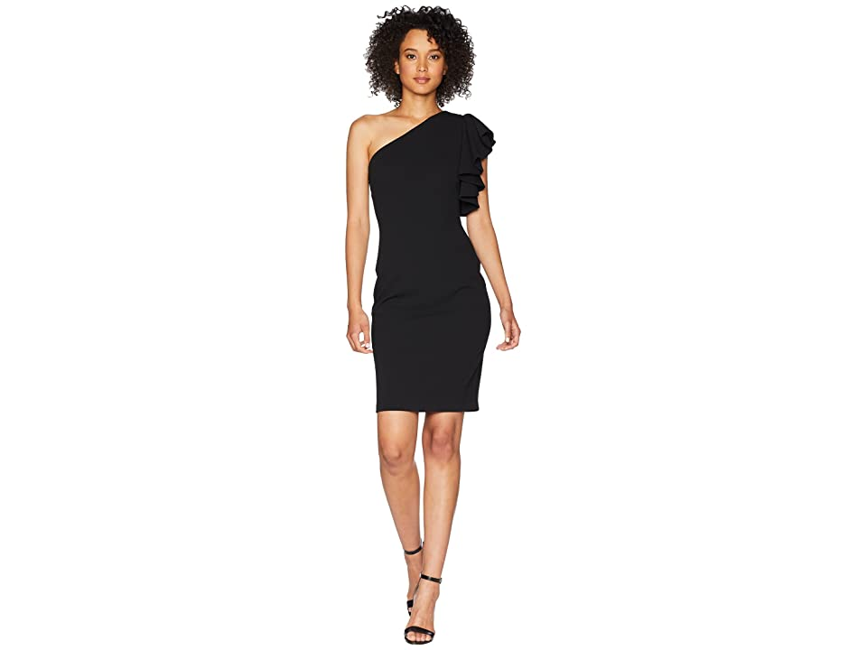 Calvin Klein Ruffle One Shoulder Sheath Dress CD8C16PK (Black) Women