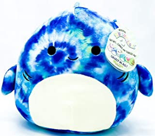 """Squishmallow Kelly Toys Luther The 8"""" Blue Tie Dye Tiger Shark Super Soft Stuffed Plush Toy Pillow"""
