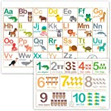 Fawn Hill Co. Disposable Placemats for Baby | Peel & Stick on Adhesive Table Topper | ABC & Numbers Educational Animal Sticky Travel Place Mat at Restaurants | Toddler Food & Kid Craft Mat | 60 Pack