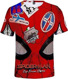 Trikahan Spiderman 2019 Far from Home Men's 3D Print Fashion Short Sleeve t Shirt S-XXXL