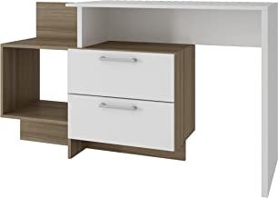 BRV MÓVEIS MDP/Office table, Desk, Computer Desk with Two Drawers, BC 43-22, White/Oak, H77 x D91.5 x W94.5 cm, Easy Assembly