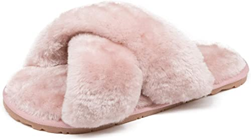 Womens Cross Band Soft Plush Slippers Lightweight House Slippers Furry Cozy Open Toe Slides for Indoor Outdoor