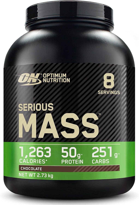Optimum Nutrition Serious Mass Proteina en Polvo, Mass Gainer Alto en Proteína, con Vitaminas, Creatina y Glutamina, Chocolate, 8 Porciones, 2,73kg