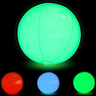 Large Floating and Inflatable Beach Ball Toy | 7 Modes |  LED Glow in The Dark with Color Changing Lights | Great for Halloween Parties, Pool/Beach Parties, Raves, or Black Light/Glow Parties